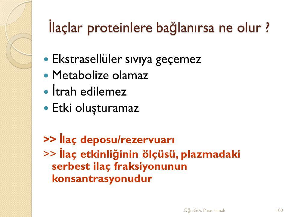 İ laçlar proteinlere ba ğ lanırsa ne olur ? Ekstrasellüler sıvıya geçemez Metabolize olamaz İ trah edilemez Etki oluşturamaz >> İ laç deposu/rezervuar
