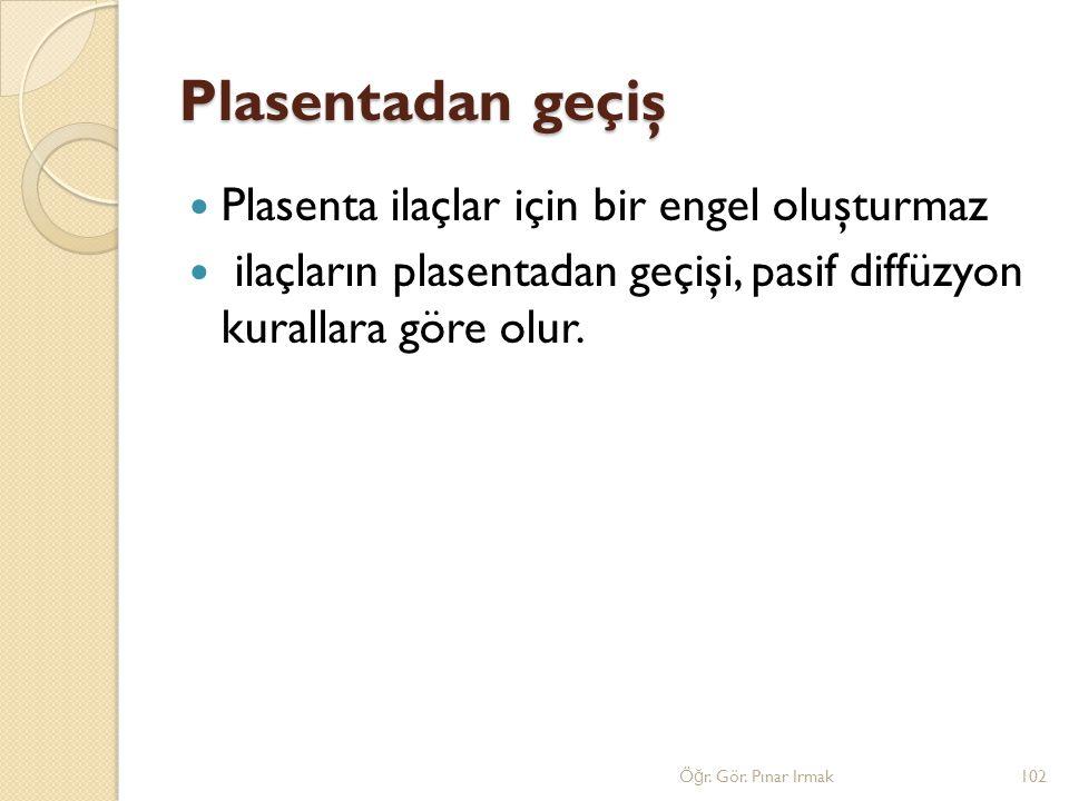 Plasentadan geçiş Plasenta ilaçlar için bir engel oluşturmaz ilaçların plasentadan geçişi, pasif diffüzyon kurallara göre olur. 102Ö ğ r. Gör. Pınar I