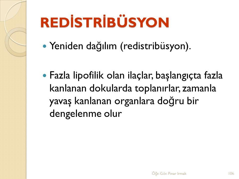 RED İ STR İ BÜSYON Yeniden da ğ ılım (redistribüsyon). Fazla lipofilik olan ilaçlar, başlangıçta fazla kanlanan dokularda toplanırlar, zamanla yavaş k