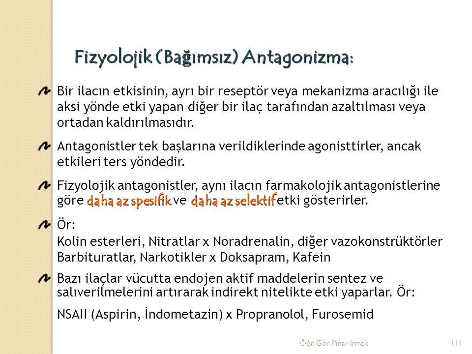 Fizyolojik (Ba ğ ımsız) Antagonizma: Bir ilacın etkisinin, ayrı bir reseptör veya mekanizma aracılığı ile aksi yönde etki yapan diğer bir ilaç tarafın