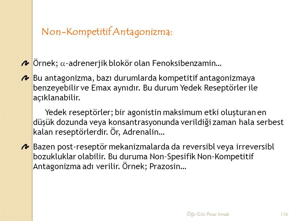Non-Kompetitif Antagonizma: Örnek;  -adrenerjik blokör olan Fenoksibenzamin… Bu antagonizma, bazı durumlarda kompetitif antagonizmaya benzeyebilir ve