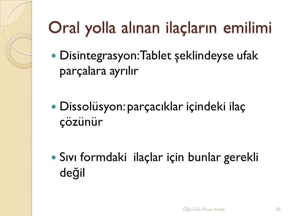 Oral yolla alınan ilaçların emilimi Disintegrasyon: Tablet şeklindeyse ufak parçalara ayrılır Dissolüsyon: parçacıklar içindeki ilaç çözünür Sıvı form