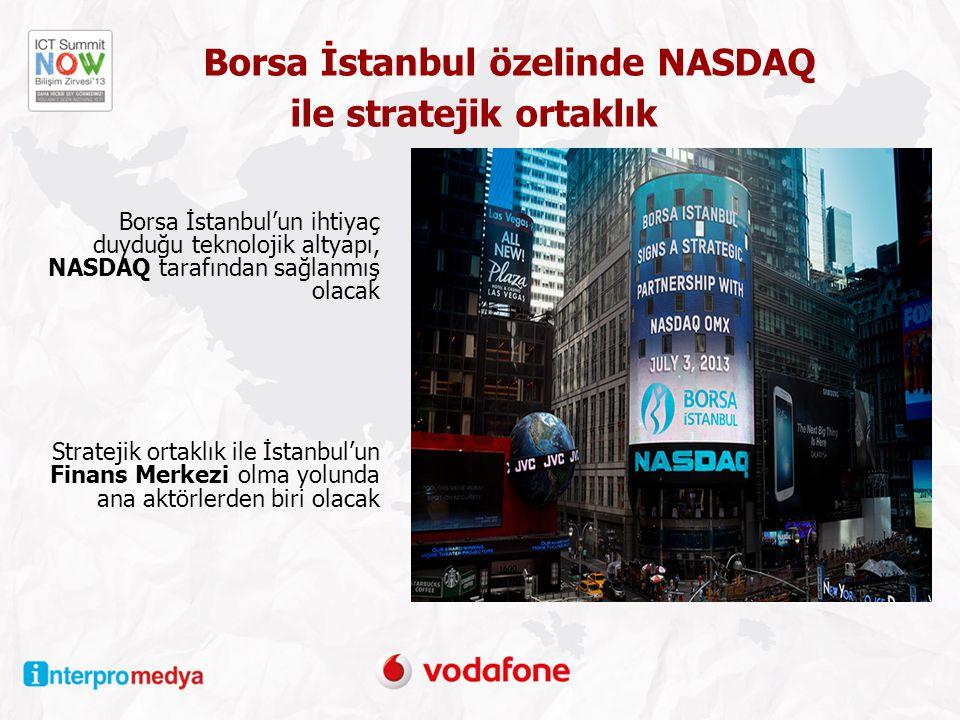 Borsa İstanbul özelinde NASDAQ ile stratejik ortaklık Borsa İstanbul'un ihtiyaç duyduğu teknolojik altyapı, NASDAQ tarafından sağlanmış olacak Stratejik ortaklık ile İstanbul'un Finans Merkezi olma yolunda ana aktörlerden biri olacak