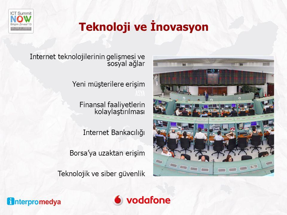 Teknoloji ve İnovasyon Internet teknolojilerinin gelişmesi ve sosyal ağlar Yeni müşterilere erişim Finansal faaliyetlerin kolaylaştırılması Internet Bankacılığı Borsa'ya uzaktan erişim Teknolojik ve siber güvenlik