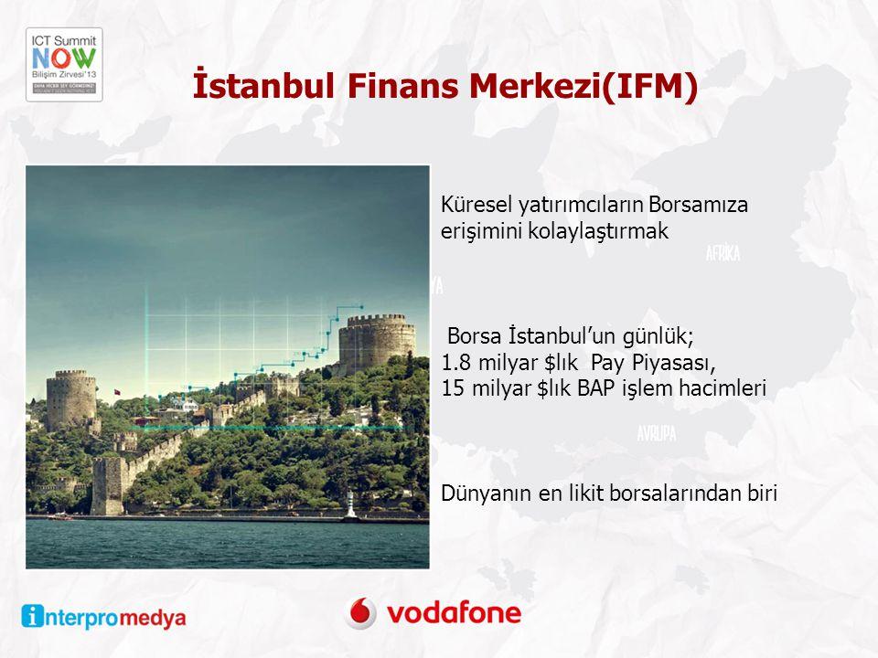 Küresel yatırımcıların Borsamıza erişimini kolaylaştırmak Borsa İstanbul'un günlük; 1.8 milyar $lık Pay Piyasası, 15 milyar $lık BAP işlem hacimleri Dünyanın en likit borsalarından biri İstanbul Finans Merkezi(IFM)