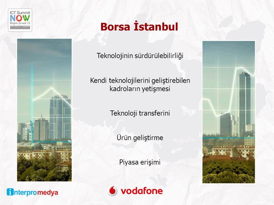 Teknolojinin sürdürülebilirliği Kendi teknolojilerini geliştirebilen kadroların yetişmesi Teknoloji transferini Ürün geliştirme Piyasa erişimi Borsa İstanbul