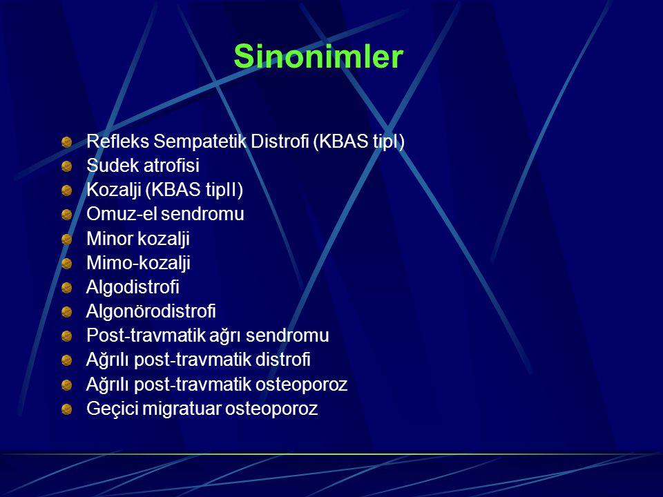 Sinonimler Refleks Sempatetik Distrofi (KBAS tipI) Sudek atrofisi Kozalji (KBAS tipII) Omuz-el sendromu Minor kozalji Mimo-kozalji Algodistrofi Algonö