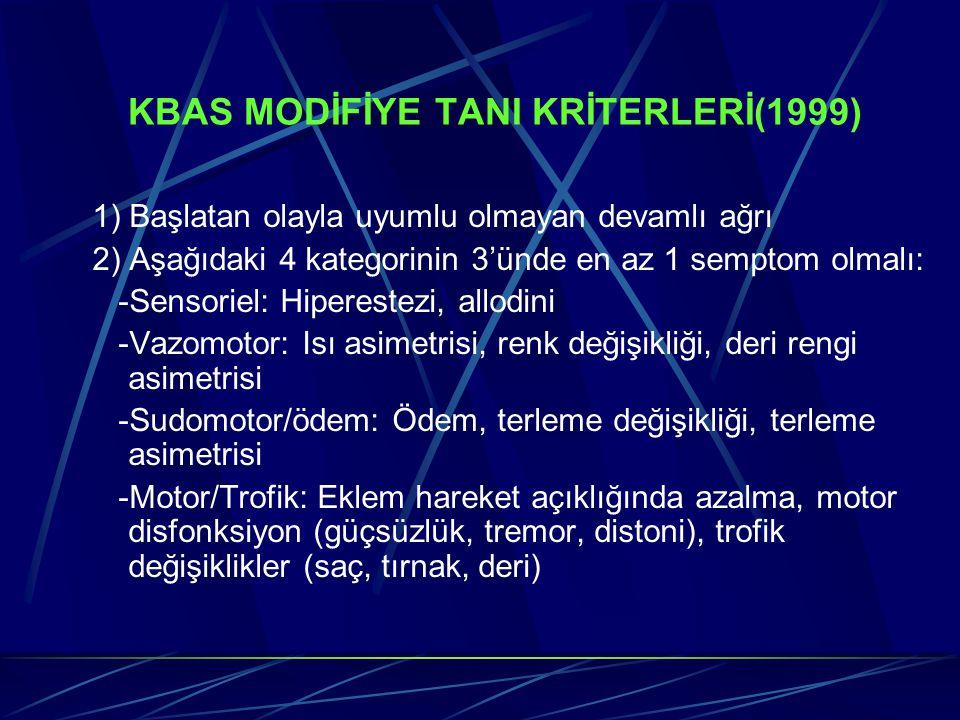 KBAS MODİFİYE TANI KRİTERLERİ(1999) 1) Başlatan olayla uyumlu olmayan devamlı ağrı 2) Aşağıdaki 4 kategorinin 3'ünde en az 1 semptom olmalı: -Sensorie
