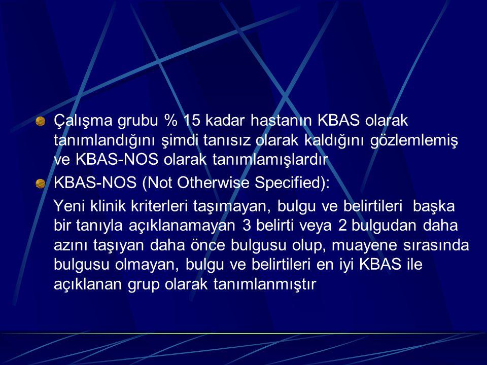 Çalışma grubu % 15 kadar hastanın KBAS olarak tanımlandığını şimdi tanısız olarak kaldığını gözlemlemiş ve KBAS-NOS olarak tanımlamışlardır KBAS-NOS (