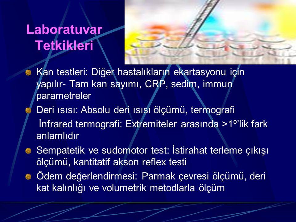 Laboratuvar Tetkikleri Kan testleri: Diğer hastalıkların ekartasyonu için yapılır- Tam kan sayımı, CRP, sedim, immun parametreler Deri ısısı: Absolu d