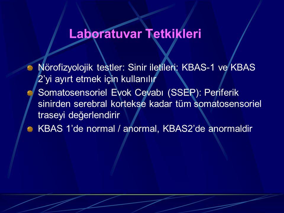 Laboratuvar Tetkikleri Nörofizyolojik testler: Sinir iletileri: KBAS-1 ve KBAS 2'yi ayırt etmek için kullanılır Somatosensoriel Evok Cevabı (SSEP): Pe