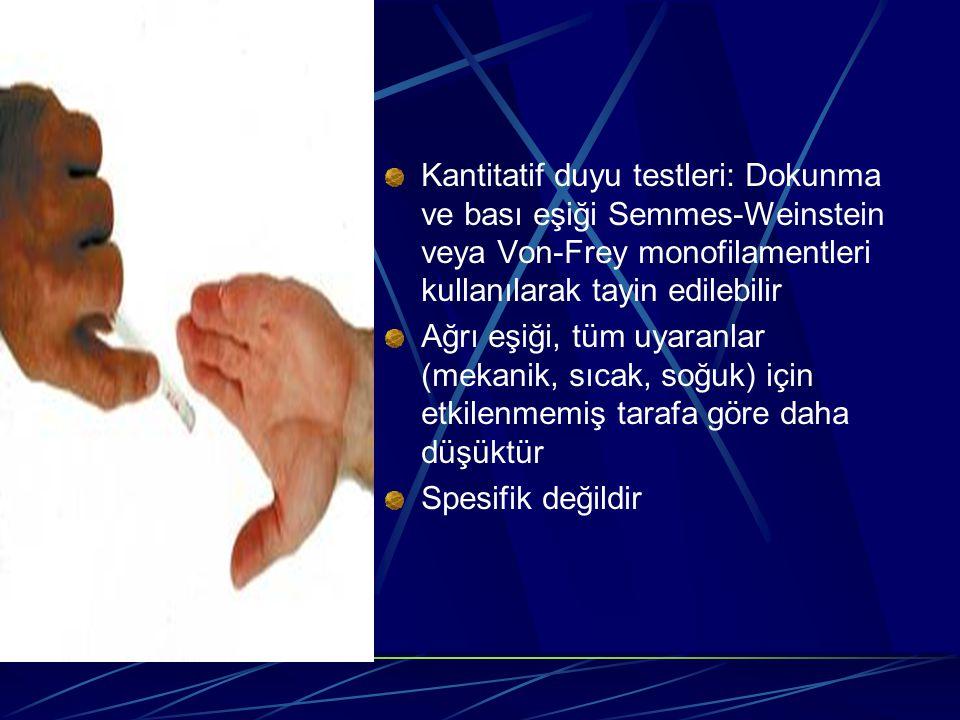 Kantitatif duyu testleri: Dokunma ve bası eşiği Semmes-Weinstein veya Von-Frey monofilamentleri kullanılarak tayin edilebilir Ağrı eşiği, tüm uyaranla