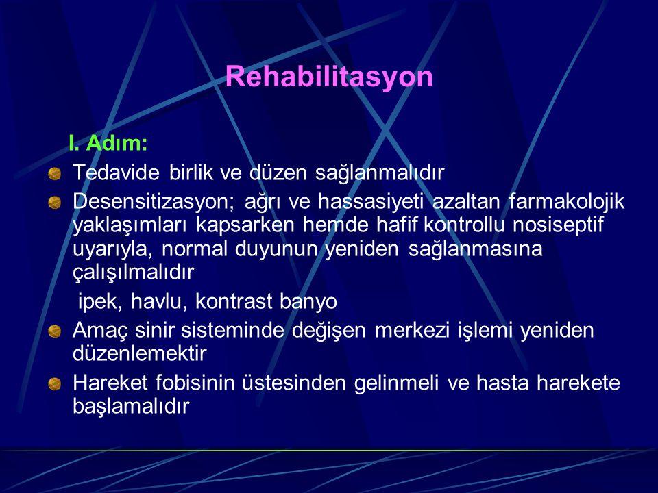 Rehabilitasyon I. Adım: Tedavide birlik ve düzen sağlanmalıdır Desensitizasyon; ağrı ve hassasiyeti azaltan farmakolojik yaklaşımları kapsarken hemde
