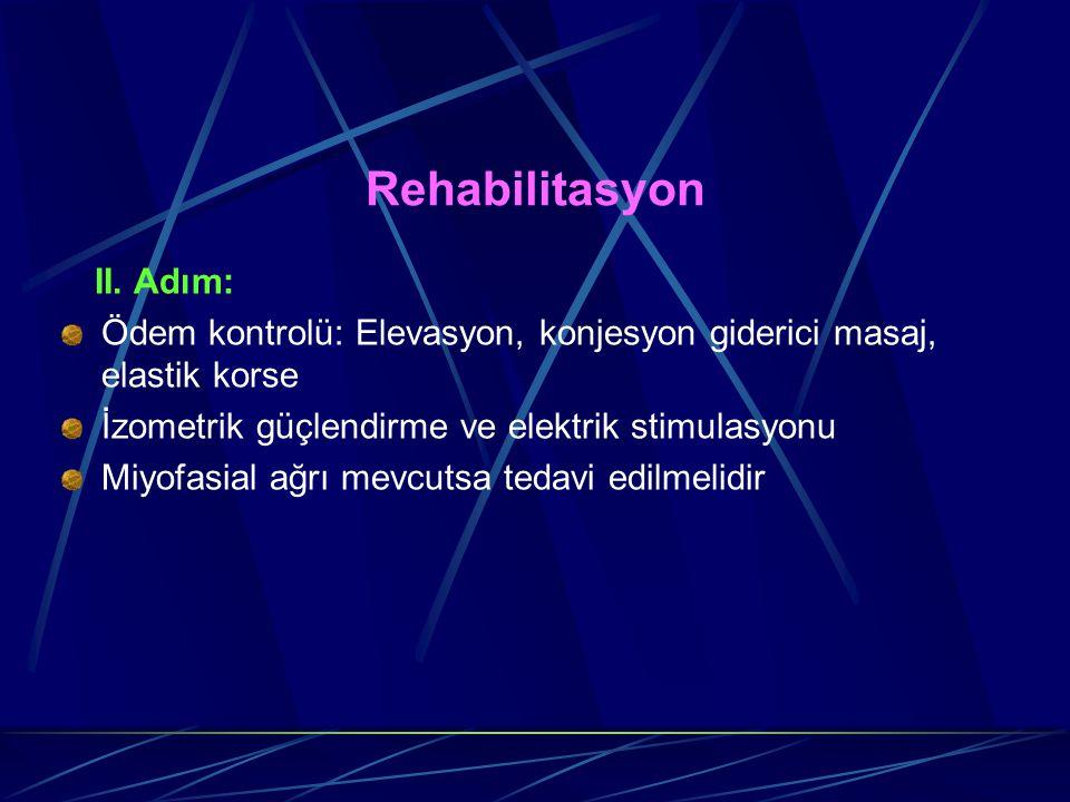 Rehabilitasyon II. Adım: Ödem kontrolü: Elevasyon, konjesyon giderici masaj, elastik korse İzometrik güçlendirme ve elektrik stimulasyonu Miyofasial a