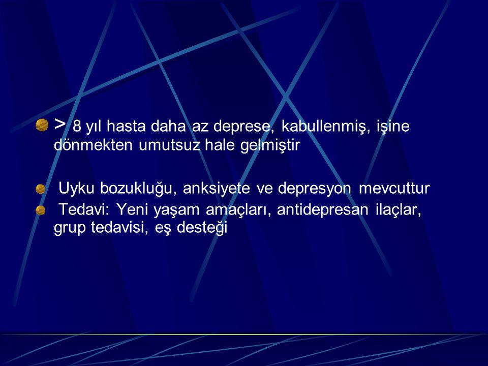 > 8 yıl hasta daha az deprese, kabullenmiş, işine dönmekten umutsuz hale gelmiştir Uyku bozukluğu, anksiyete ve depresyon mevcuttur Tedavi: Yeni yaşam