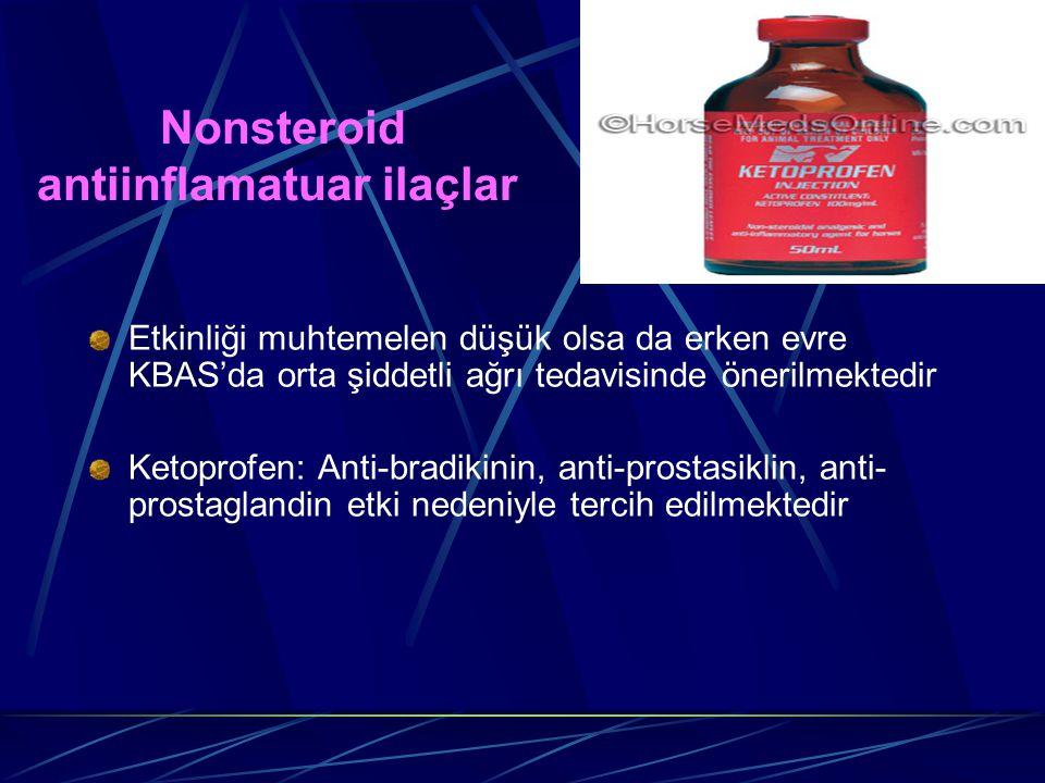 Nonsteroid antiinflamatuar ilaçlar Etkinliği muhtemelen düşük olsa da erken evre KBAS'da orta şiddetli ağrı tedavisinde önerilmektedir Ketoprofen: Ant