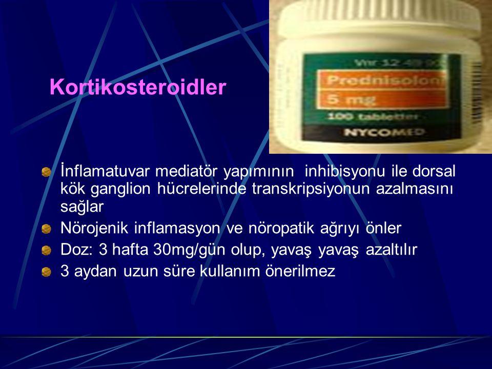 Kortikosteroidler İnflamatuvar mediatör yapımının inhibisyonu ile dorsal kök ganglion hücrelerinde transkripsiyonun azalmasını sağlar Nörojenik inflam