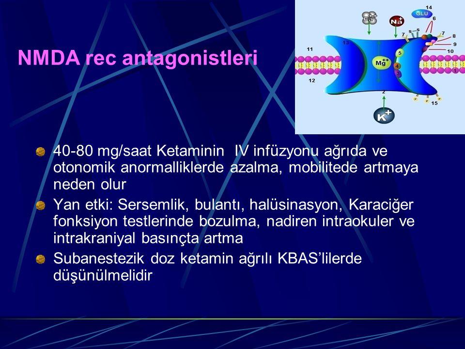 NMDA rec antagonistleri 40-80 mg/saat Ketaminin IV infüzyonu ağrıda ve otonomik anormalliklerde azalma, mobilitede artmaya neden olur Yan etki: Sersem