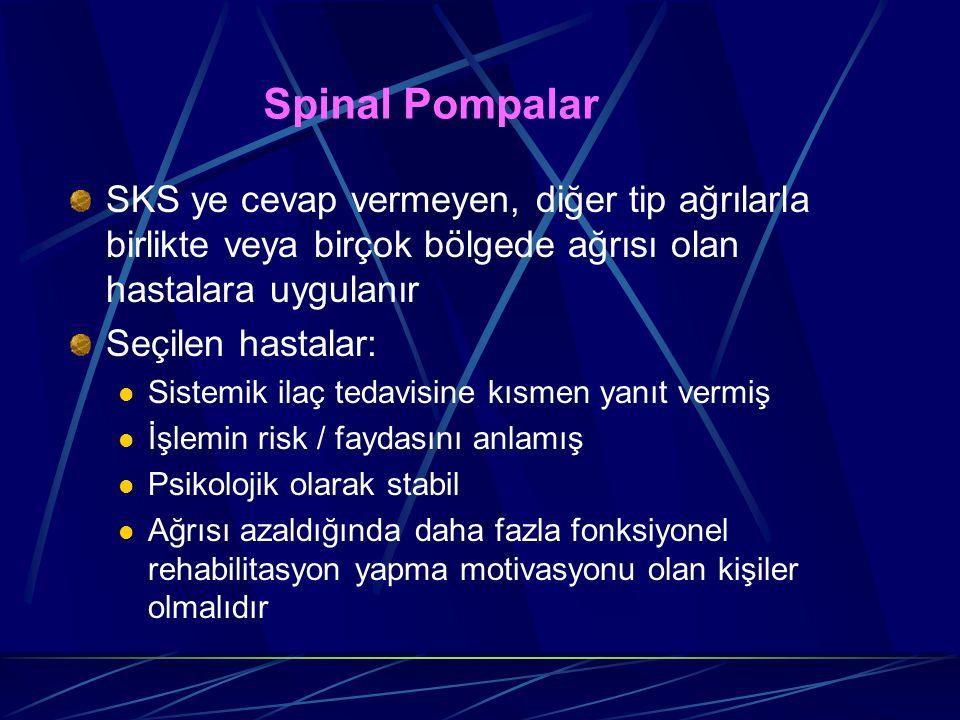Spinal Pompalar SKS ye cevap vermeyen, diğer tip ağrılarla birlikte veya birçok bölgede ağrısı olan hastalara uygulanır Seçilen hastalar: Sistemik ila