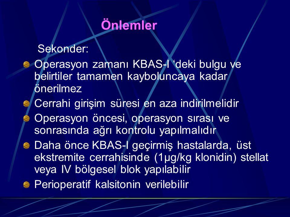 Önlemler Sekonder: Operasyon zamanı KBAS-I 'deki bulgu ve belirtiler tamamen kayboluncaya kadar önerilmez Cerrahi girişim süresi en aza indirilmelidir