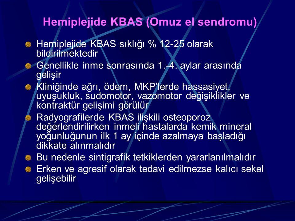 Hemiplejide KBAS (Omuz el sendromu) Hemiplejide KBAS sıklığı % 12-25 olarak bildirilmektedir Genellikle inme sonrasında 1.-4. aylar arasında gelişir K
