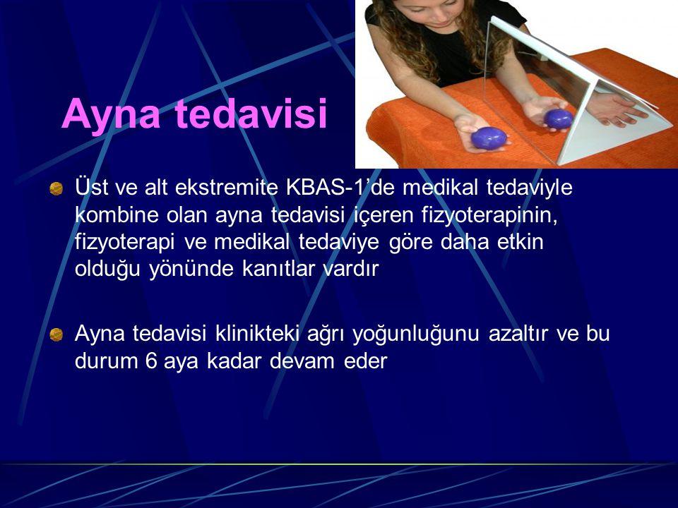 Ayna tedavisi Üst ve alt ekstremite KBAS-1'de medikal tedaviyle kombine olan ayna tedavisi içeren fizyoterapinin, fizyoterapi ve medikal tedaviye göre