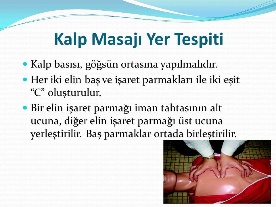 Kalp Masajı Yer Tespiti Kalp basısı, göğsün ortasına yapılmalıdır.