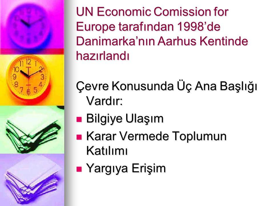 UN Economic Comission for Europe tarafından 1998'de Danimarka'nın Aarhus Kentinde hazırlandı Çevre Konusunda Üç Ana Başlığı Vardır: Bilgiye Ulaşım Bilgiye Ulaşım Karar Vermede Toplumun Katılımı Karar Vermede Toplumun Katılımı Yargıya Erişim Yargıya Erişim