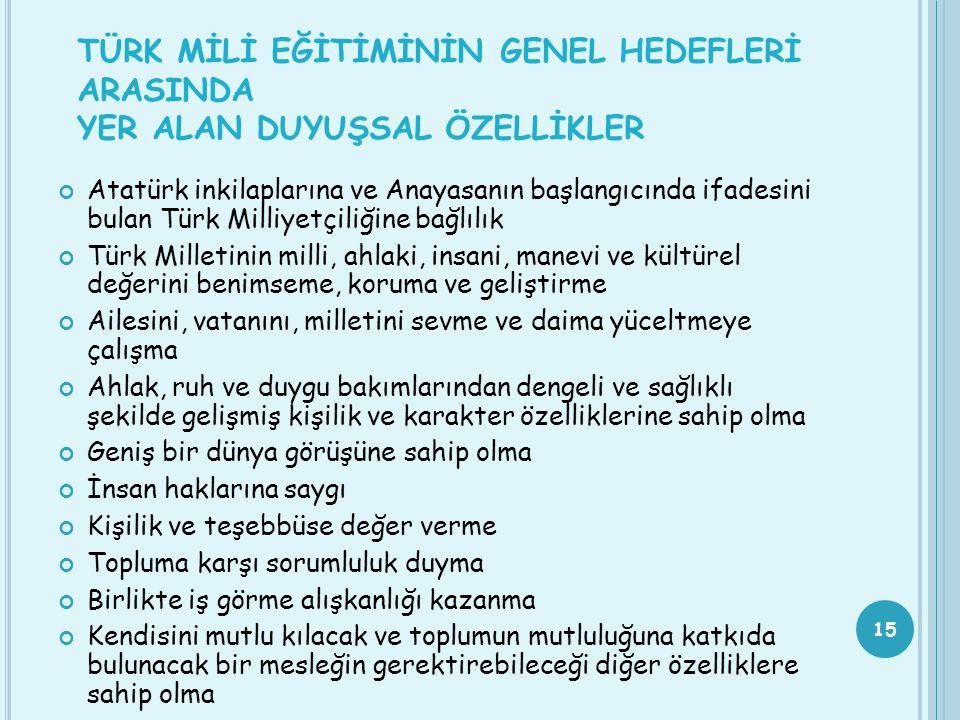 TÜRK MİLİ EĞİTİMİNİN GENEL HEDEFLERİ ARASINDA YER ALAN DUYUŞSAL ÖZELLİKLER Atatürk inkilaplarına ve Anayasanın başlangıcında ifadesini bulan Türk Mill