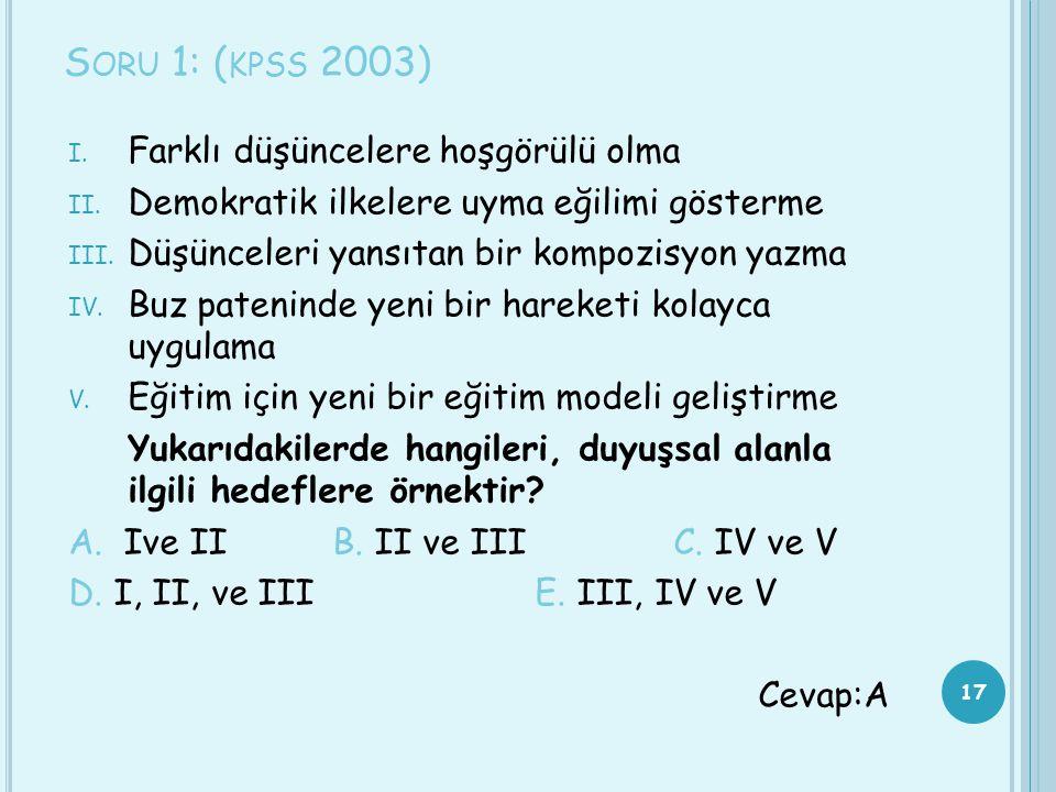 S ORU 1: ( KPSS 2003) I. Farklı düşüncelere hoşgörülü olma II. Demokratik ilkelere uyma eğilimi gösterme III. Düşünceleri yansıtan bir kompozisyon yaz