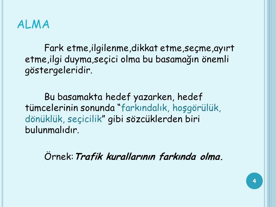 TÜRK MİLİ EĞİTİMİNİN GENEL HEDEFLERİ ARASINDA YER ALAN DUYUŞSAL ÖZELLİKLER Atatürk inkilaplarına ve Anayasanın başlangıcında ifadesini bulan Türk Milliyetçiliğine bağlılık Türk Milletinin milli, ahlaki, insani, manevi ve kültürel değerini benimseme, koruma ve geliştirme Ailesini, vatanını, milletini sevme ve daima yüceltmeye çalışma Ahlak, ruh ve duygu bakımlarından dengeli ve sağlıklı şekilde gelişmiş kişilik ve karakter özelliklerine sahip olma Geniş bir dünya görüşüne sahip olma İnsan haklarına saygı Kişilik ve teşebbüse değer verme Topluma karşı sorumluluk duyma Birlikte iş görme alışkanlığı kazanma Kendisini mutlu kılacak ve toplumun mutluluğuna katkıda bulunacak bir mesleğin gerektirebileceği diğer özelliklere sahip olma 15