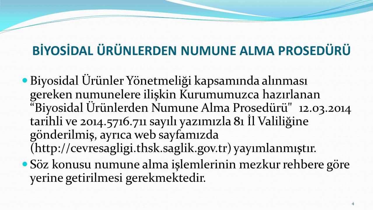 """BİYOSİDAL ÜRÜNLERDEN NUMUNE ALMA PROSEDÜRÜ Biyosidal Ürünler Yönetmeliği kapsamında alınması gereken numunelere ilişkin Kurumumuzca hazırlanan """"Biyosi"""