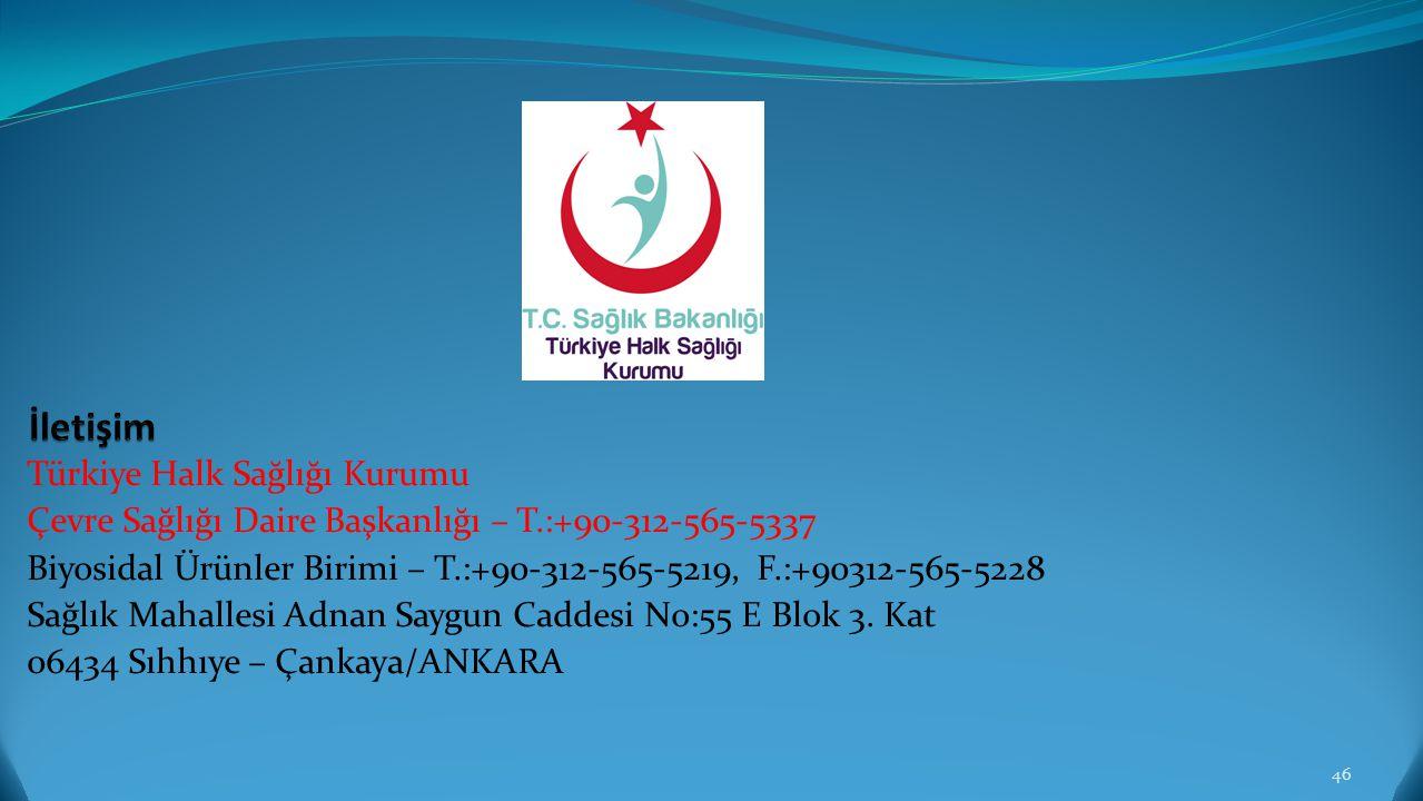 Türkiye Halk Sağlığı Kurumu Çevre Sağlığı Daire Başkanlığı – T.:+90-312-565-5337 Biyosidal Ürünler Birimi – T.:+90-312-565-5219, F.:+90312-565-5228 Sa
