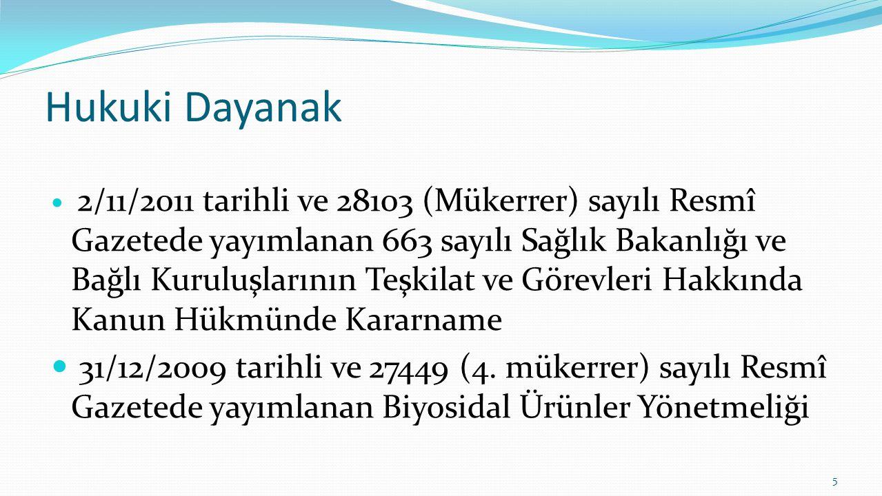 Hukuki Dayanak 2/11/2011 tarihli ve 28103 (Mükerrer) sayılı Resmî Gazetede yayımlanan 663 sayılı Sağlık Bakanlığı ve Bağlı Kuruluşlarının Teşkilat ve