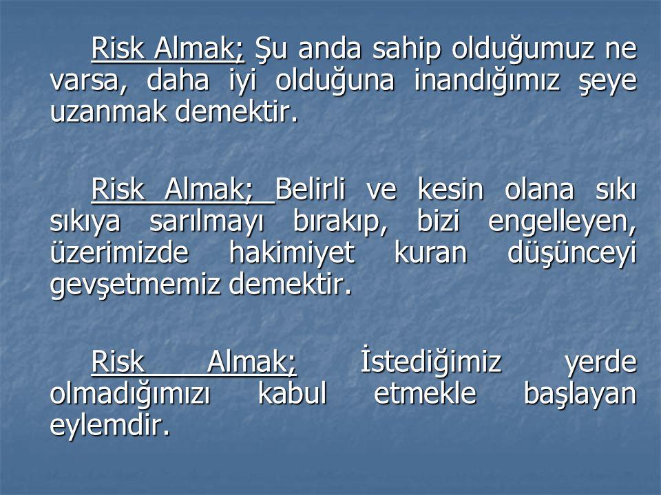 Risk Almak; Şu anda sahip olduğumuz ne varsa, daha iyi olduğuna inandığımız şeye uzanmak demektir. Risk Almak; Belirli ve kesin olana sıkı sıkıya sarı