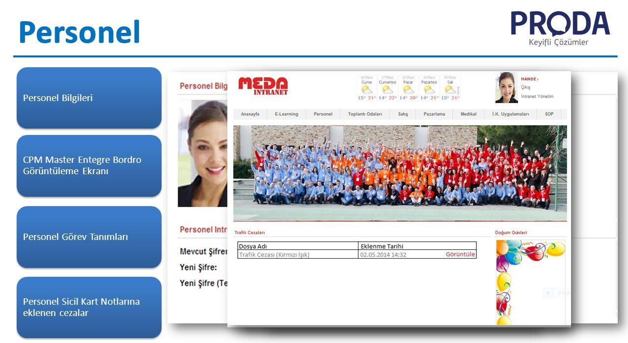 Personel Bilgileri CPM Master Entegre Bordro Görüntüleme Ekranı Personel Görev Tanımları Personel Sicil Kart Notlarına eklenen cezalar