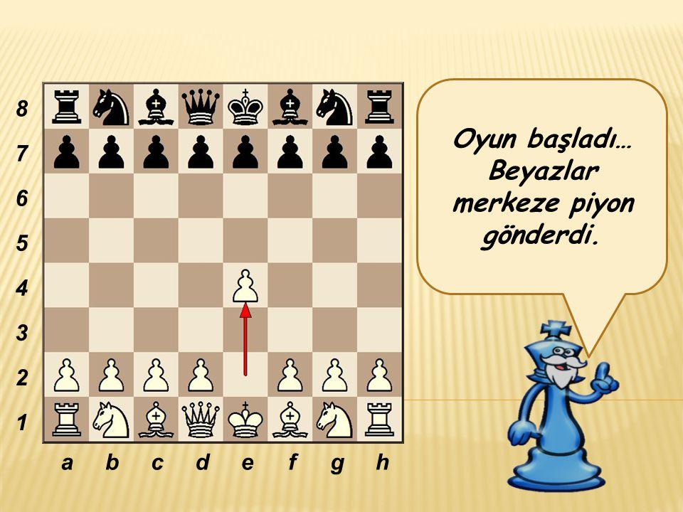 Oyun başladı… Beyazlar merkeze piyon gönderdi. abcdefgh 8 7 6 5 4 3 2 1