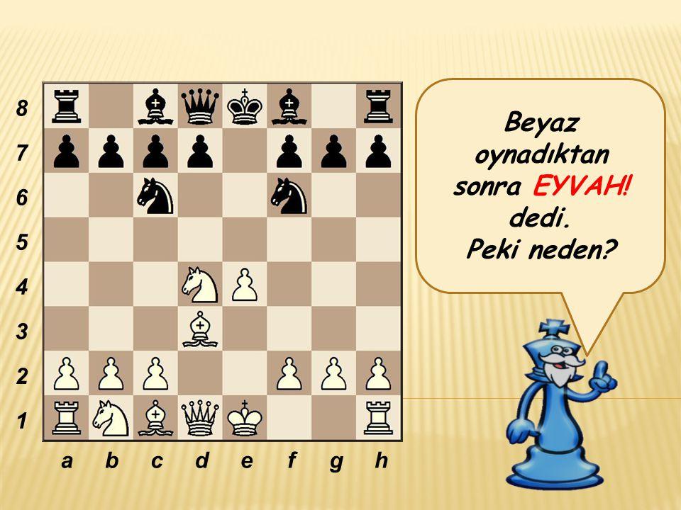 Beyaz oynadıktan sonra EYVAH! dedi. Peki neden? abcdefgh 8 7 6 5 4 3 2 1