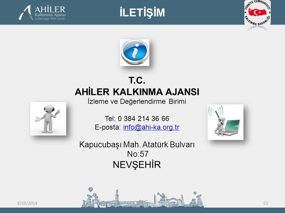 T.C. AHİLER KALKINMA AJANSI İzleme ve Değerlendirme Birimi Tel: 0 384 214 36 66 E-posta: info@ahi-ka.org.trinfo@ahi-ka.org.tr Kapucubaşı Mah. Atatürk