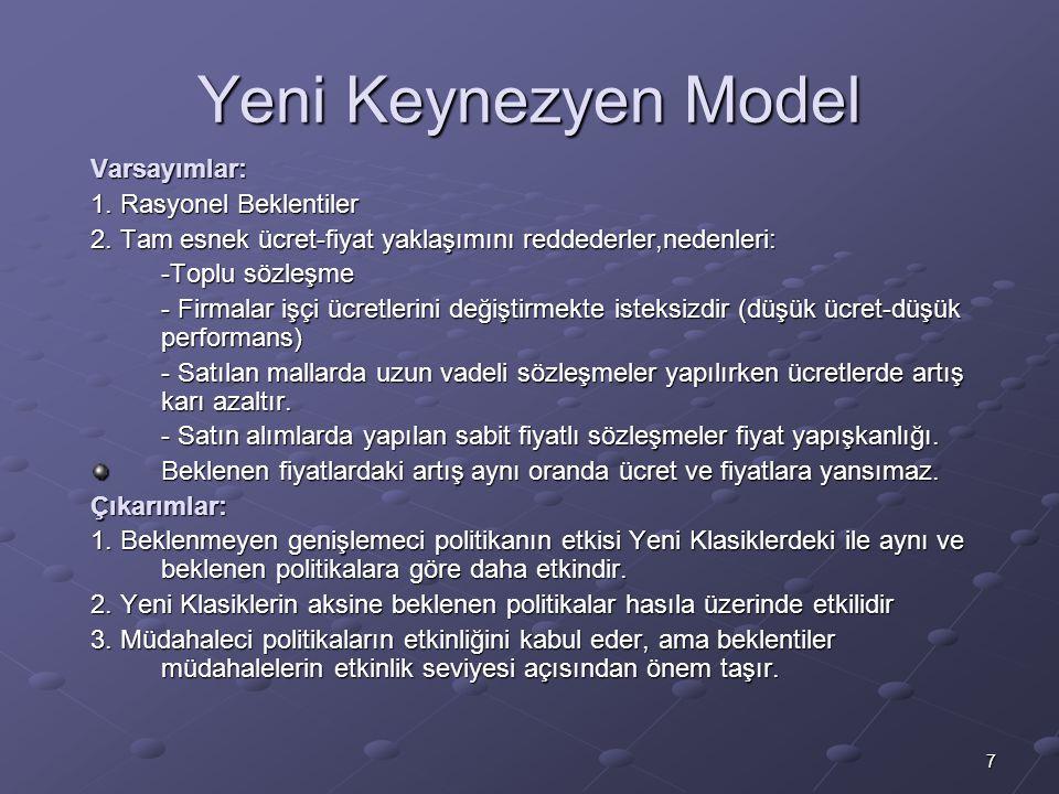 7 Yeni Keynezyen Model Varsayımlar: 1. Rasyonel Beklentiler 2. Tam esnek ücret-fiyat yaklaşımını reddederler,nedenleri: -Toplu sözleşme - Firmalar işç