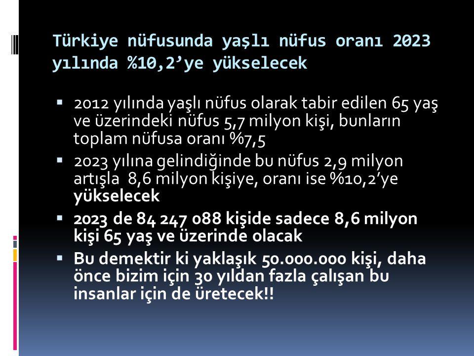 Türkiye nüfusunda yaşlı nüfus oranı 2023 yılında %10,2'ye yükselecek  2012 yılında yaşlı nüfus olarak tabir edilen 65 yaş ve üzerindeki nüfus 5,7 mil