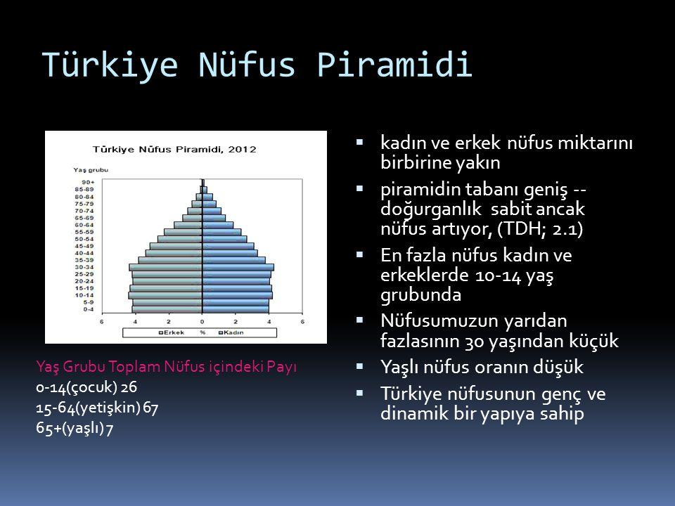 Türkiye Nüfus Piramidi  kadın ve erkek nüfus miktarını birbirine yakın  piramidin tabanı geniş -- doğurganlık sabit ancak nüfus artıyor, (TDH; 2.1)
