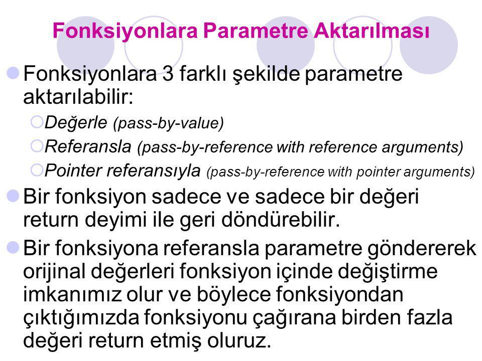Fonksiyonlara Parametre Aktarılması Fonksiyonlara 3 farklı şekilde parametre aktarılabilir:  Değerle (pass-by-value)  Referansla (pass-by-reference