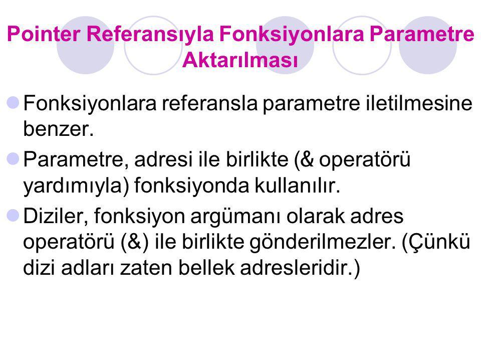 Pointer Referansıyla Fonksiyonlara Parametre Aktarılması Fonksiyonlara referansla parametre iletilmesine benzer. Parametre, adresi ile birlikte ( & op