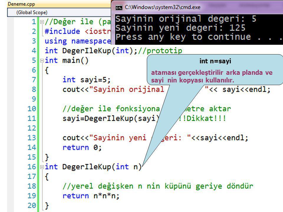 int n=sayi ataması gerçekleştirilir arka planda ve sayi nin kopyası kullanılır.