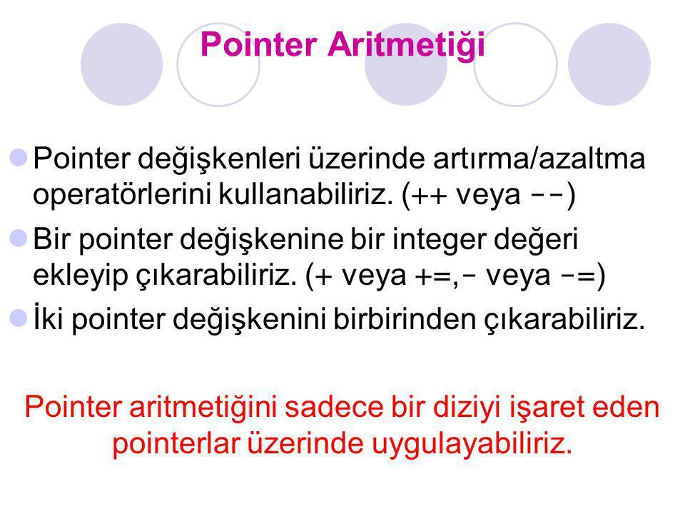 Pointer Aritmetiği Pointer değişkenleri üzerinde artırma/azaltma operatörlerini kullanabiliriz. ( ++ veya -- ) Bir pointer değişkenine bir integer değ