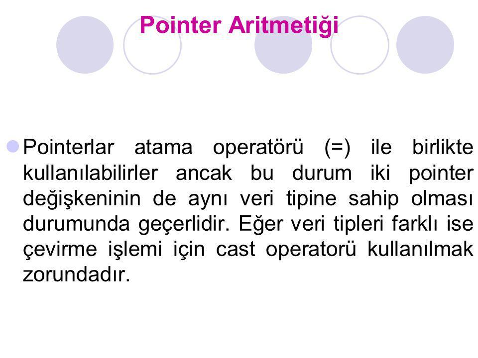 Pointer Aritmetiği Pointerlar atama operatörü (=) ile birlikte kullanılabilirler ancak bu durum iki pointer değişkeninin de aynı veri tipine sahip olm