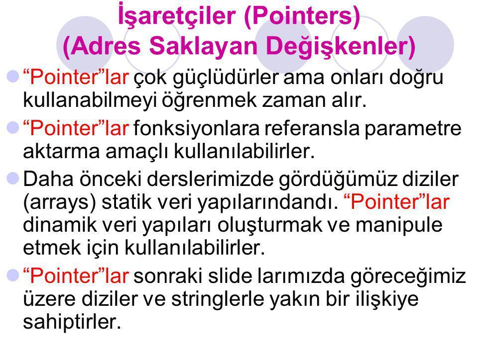 """İşaretçiler (Pointers) (Adres Saklayan Değişkenler) """"Pointer""""lar çok güçlüdürler ama onları doğru kullanabilmeyi öğrenmek zaman alır. """"Pointer""""lar fon"""