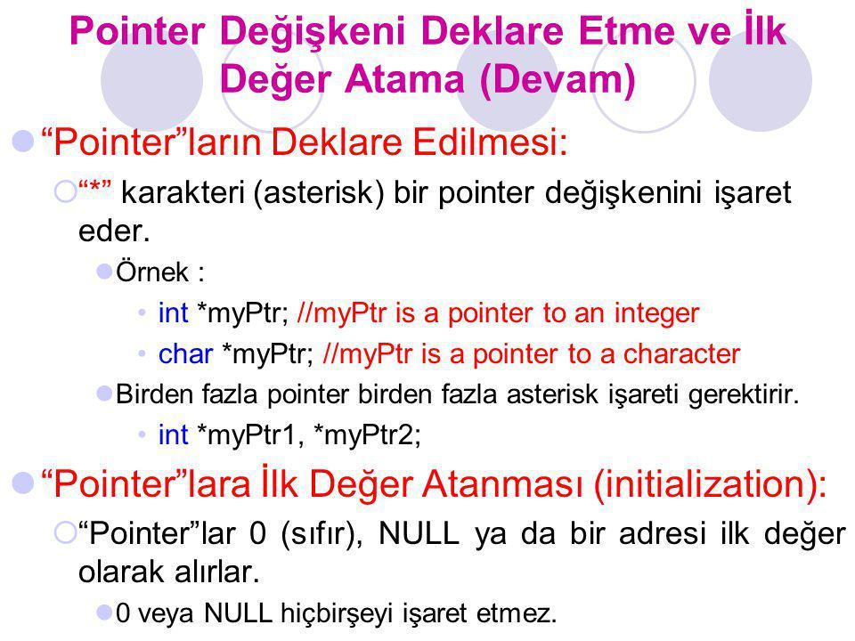 """Pointer Değişkeni Deklare Etme ve İlk Değer Atama (Devam) """"Pointer""""ların Deklare Edilmesi:  """"*"""" karakteri (asterisk) bir pointer değişkenini işaret e"""
