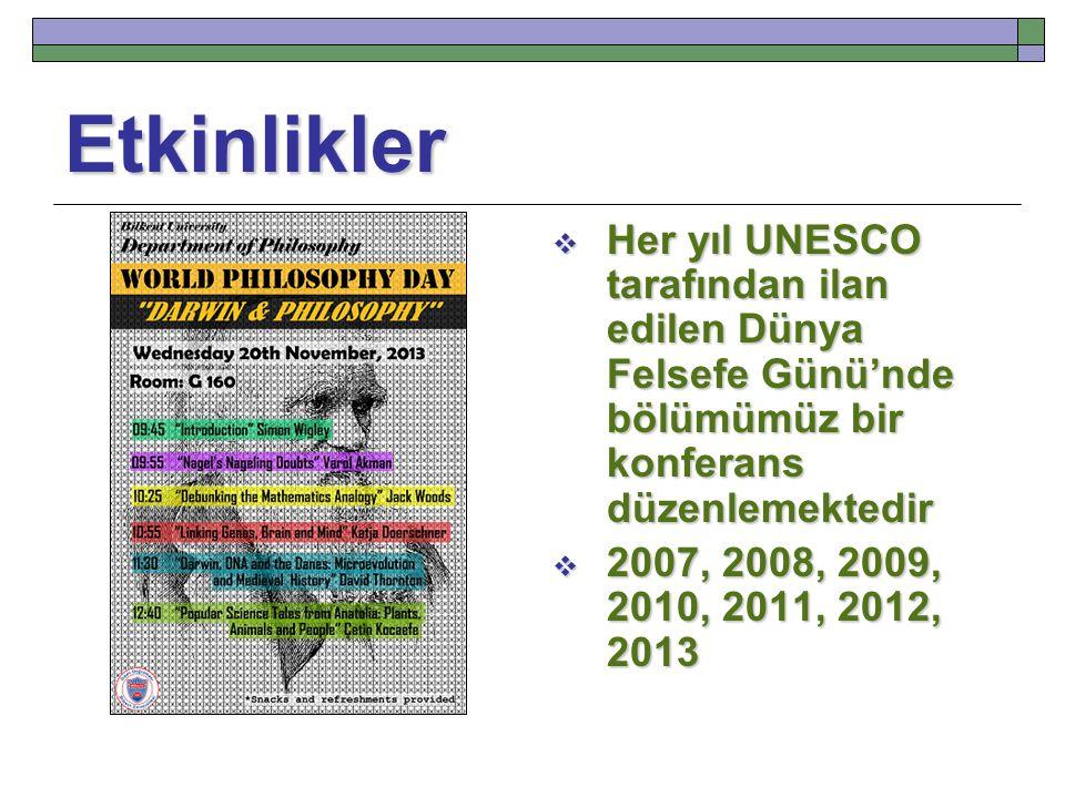 Etkinlikler  Her yıl UNESCO tarafından ilan edilen Dünya Felsefe Günü'nde bölümümüz bir konferans düzenlemektedir  2007, 2008, 2009, 2010, 2011, 201